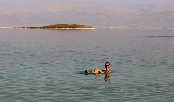 Anastasia Schmalz at the Dead Sea in Israel