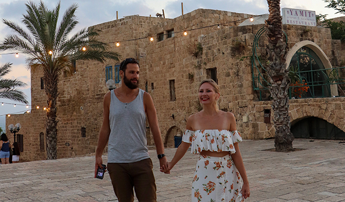 Anastasia Schmalz and Tomer Arwas of Generation Nomads at Jaffa during sunset