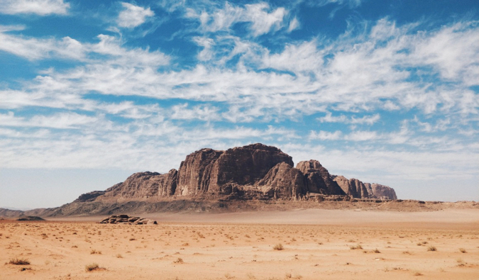 A blue sky over the arid Wadi Rum in Jordan