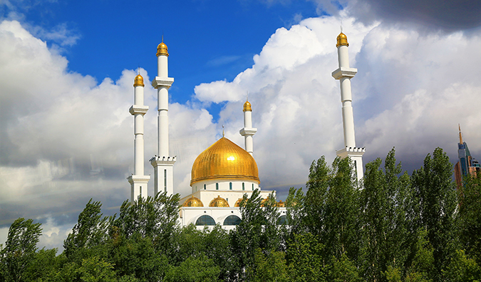 a gold-topped mosque in Kazakhstan