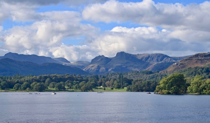 A sunny day on the water in the Lake District in England
