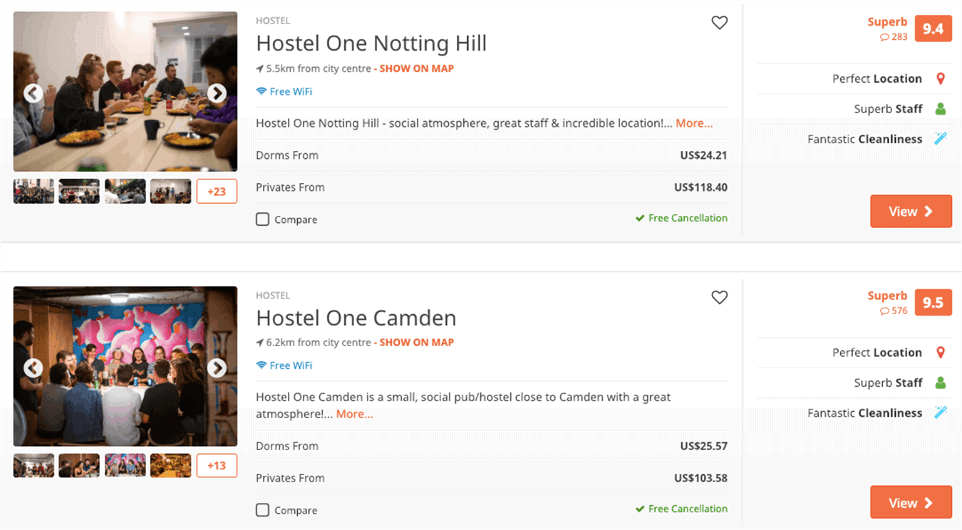 hostel search listings for London, England