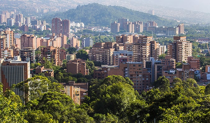 view of skyscrapers in Medellin from the hills