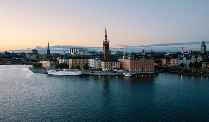 The skyline of Stockholm, Sweden surrounded by blue waters