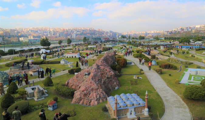 Small statues and tourists at the Miniaturk park in Istanbul, Turkey