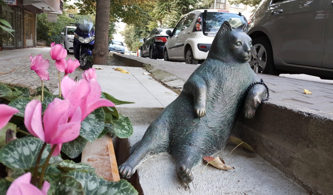 The Tombili the cat statue in Istanbul, Turkey