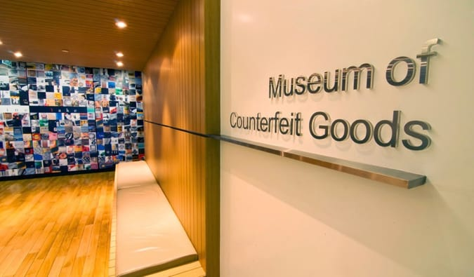 The sign of the Museum of Counterfeiting in Paris, France