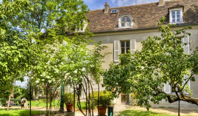 The queen gardens of the Montmartre Museum in Paris, France