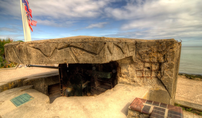 One of the remaining bunkers in Normandy on the D-Day beaches from World War II