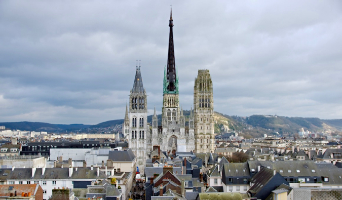 The famous cathedral in the city of Rouen in France