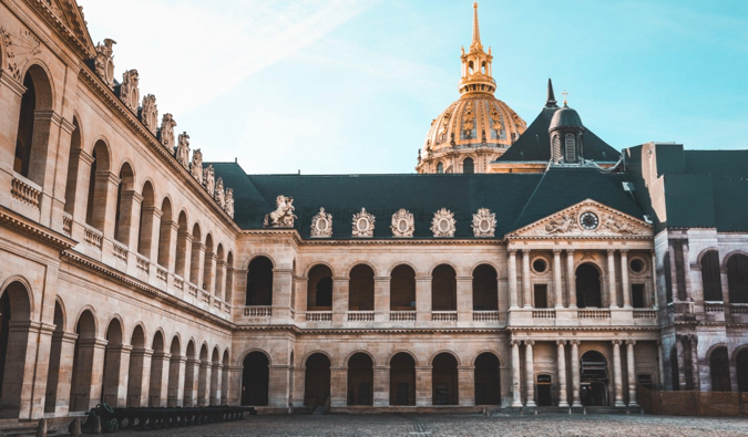 The empty courtyard of Les Invalides in Paris, France