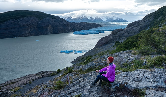 Kristin Addis hiking in Patagonia