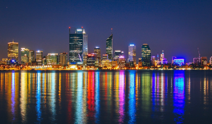 The city of Perth, Australia lit up at night