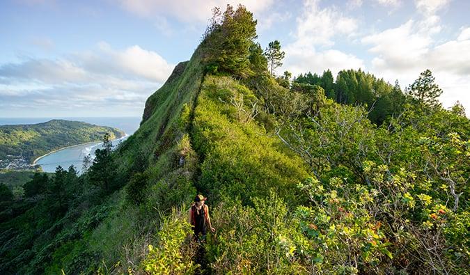Kristin Addis hiking in French Polynesia