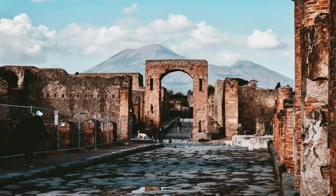 The ancient columns and ruins of Pompeii, Italy
