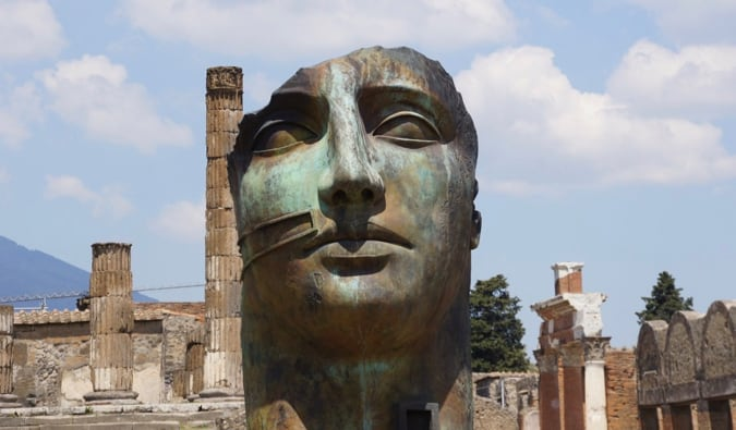 The ruins of a statue in Pompeii, Italy