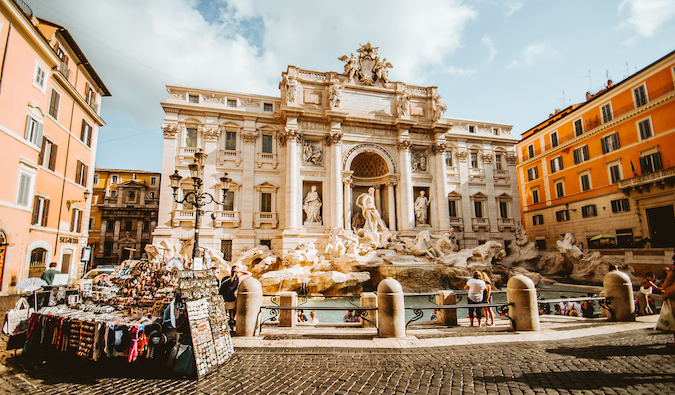 Trevi fountain in the middle of Rome