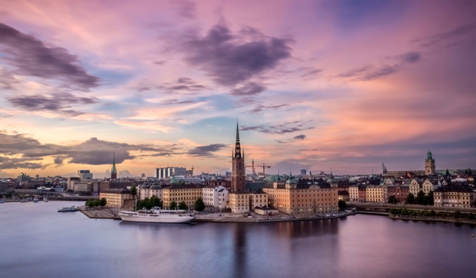 A long-exposure photo of Stockholm, the capital of Sweden, at sunrise