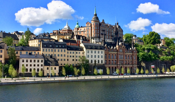 The picturesque historical architecture in Stockholm's Södermalm district on a bright summer day