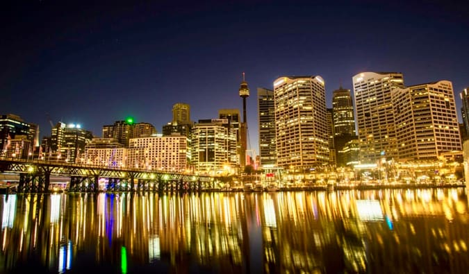 The stunning vista of Darling Harbour at night in Australia