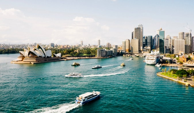 The busy harbour of Sydney, Australia during a sunny summer day