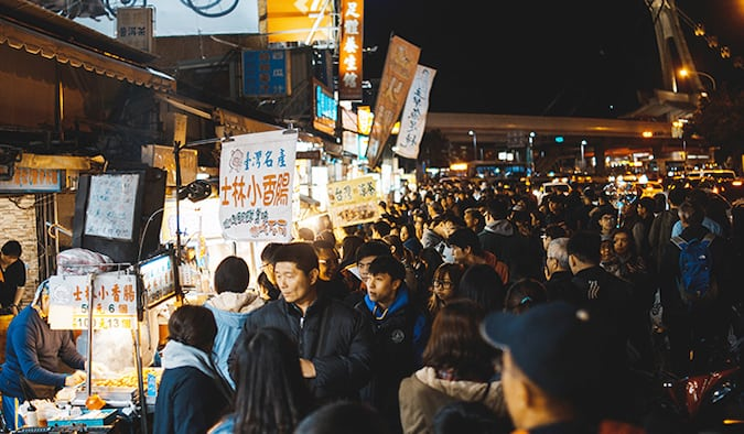 the busy food markets of Taiwan