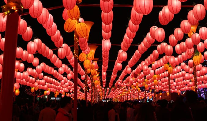 red overhanging lanterns at the Taiwan Pingxi Lantern Festival