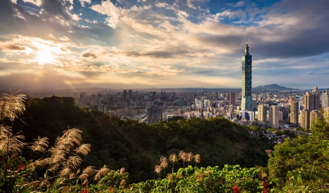 The skyline of Taipei in Taiwan with nature in the foreground