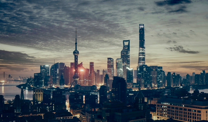 The massive city of Shanghai, China lit up at night