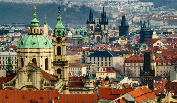 The many old and medieval buildings of Prague, Czechia