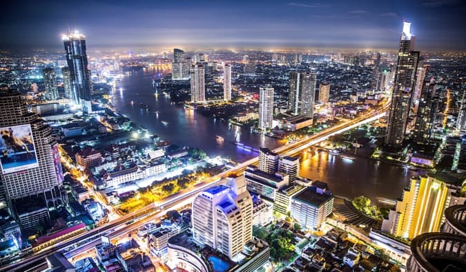 The hectic and chaotic streets of Bangkok, Thailand at night