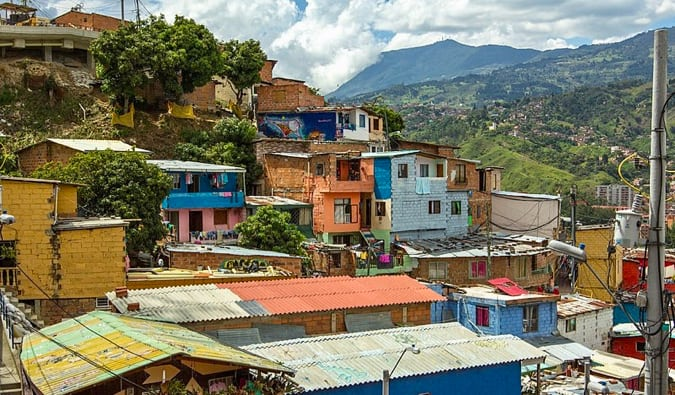 The colorful houses of Communa 13 in Medellin, Colombia
