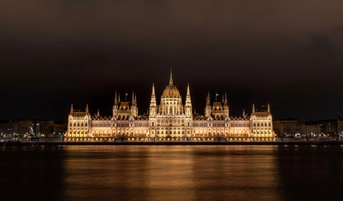 The parliament building in Budapest, Hungary lit up at night