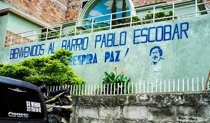 A painted welcome sign for one of Pablo Escobar's properties