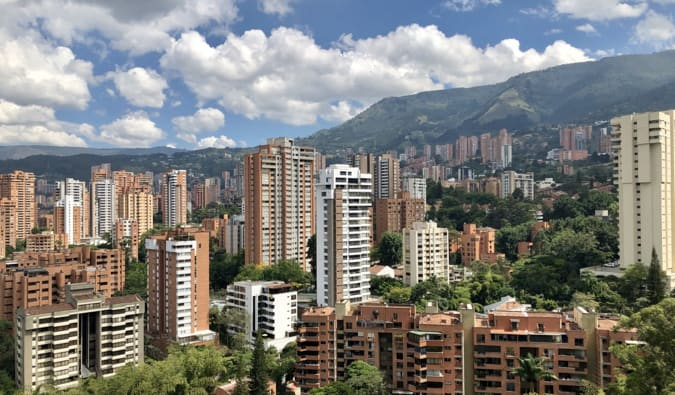 A photo overlooking the buildings of Medellin, Colombia on a sunny day