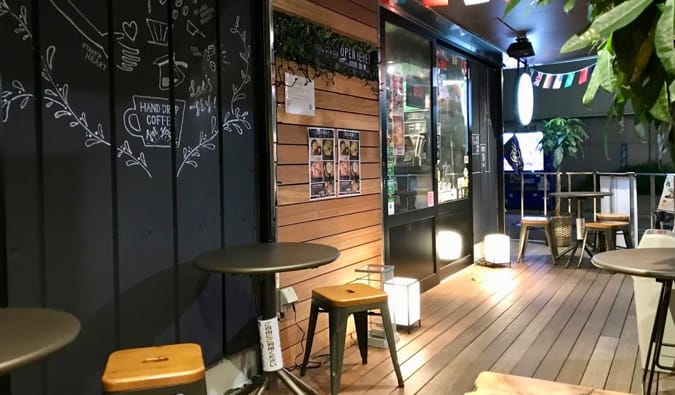 The cool interior of Hostel and Cafe East57 in Tokyo, Japan