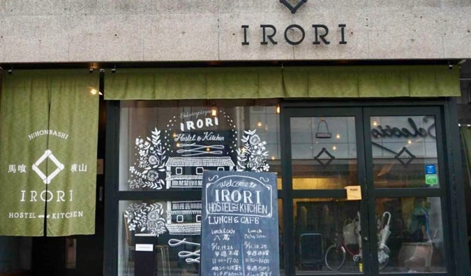 The exterior of  IRORI Hostel & Kitchen in Tokyo, Japan