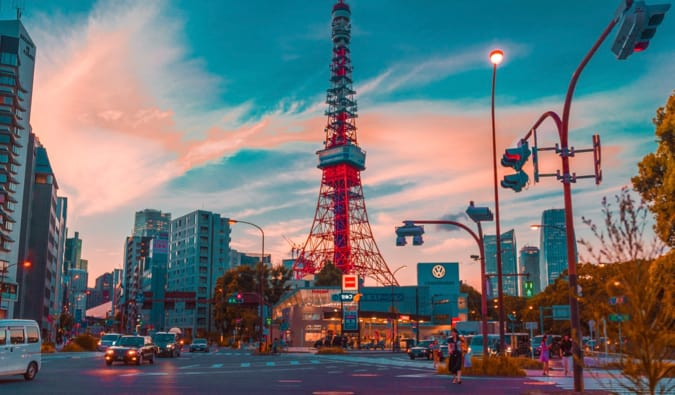 The Tokyo Tower at sunrise in Tokyo, Japan