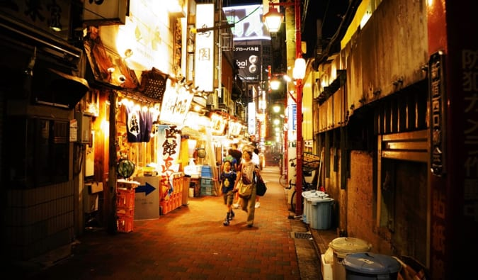 The narrow alleys of Golden Gai, Tokyo at night