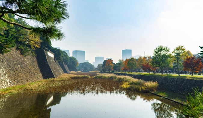 The outskirts of the historic Imperial Palace in Tokyo, Japan