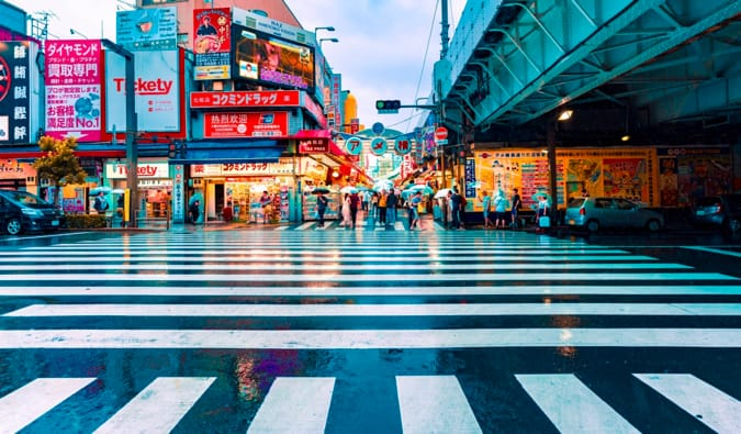 One of the many busy intersections in Asakusa, Tokyo, Japan as it rains