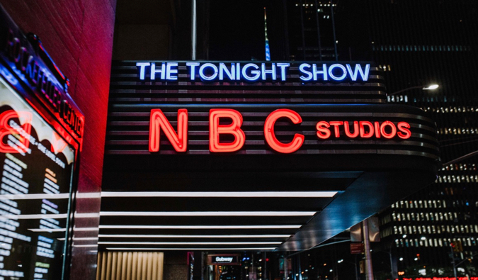 The Tonight Show sign in New York City at night