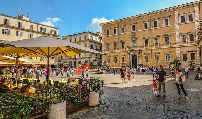 a busy square in Trastevere, Rome