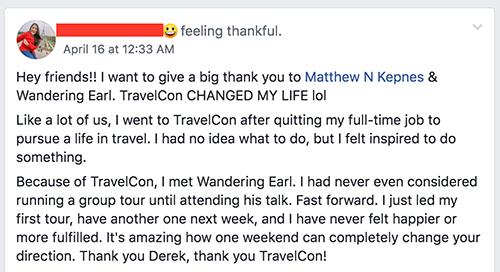 Travelcon 2018 testimonial