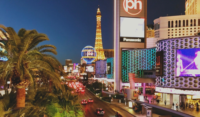 A busy streets and bright lights of Las Vegas at night