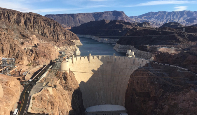 The massive Hoover Dam towering over the water near Las Vegas, Nevada