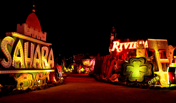 The lights and signs of the Neon Museum at night in Las Vegas, Nevada
