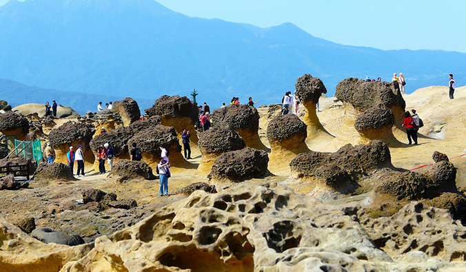 the lunar-like landscape of Yehliu Geopark, Taiwan