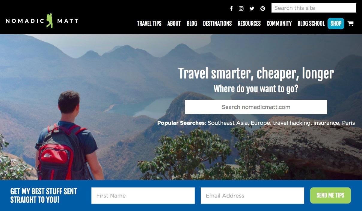 Nomadic Matt's homepage in 2020