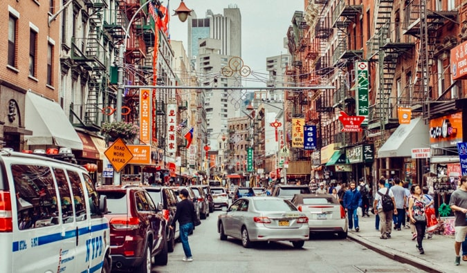 The bustling Chinatown district in New York City, USA